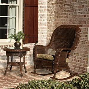 Rocker with End Table Fabric: Rave Brick, Finish: Java