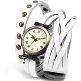 Ailisha Lady Women Fashion Wrap Around Bracelet White Long Leather Quartz Watch WAA343