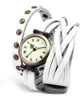 AMPM24 Montre Quartz Vintage Style Bracelet Cuir Rivet Retro Blanc WAA343