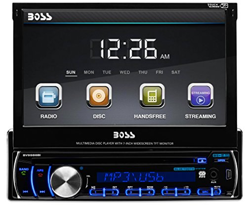 BOSS AUDIO BV9986BI Single-DIN 7 inch Motorized Touchscreen DVD Player Receiver, Bluetooth, Detachable Front Panel, Wireless Remote (Control Panel For 1995 Chevy compare prices)