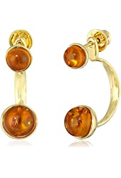 Honey Amber Gold Plated Sterling Silver Round Back-To-Front Omega Dangle Earrings