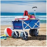 1 X Folding Beach Wagon All Terrain Blue Collapsible Kart Foldable Sports Dolly Gear Storage Mac Cart