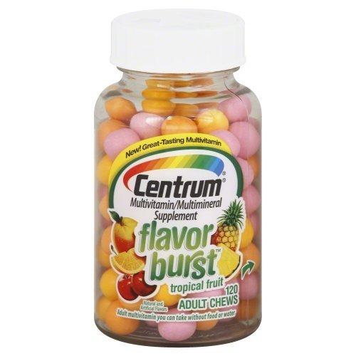 Centrum Multivitamin Multimineral Flavor Burst Adult Chews Tropical Fruit -- 120 Chewable Tablets