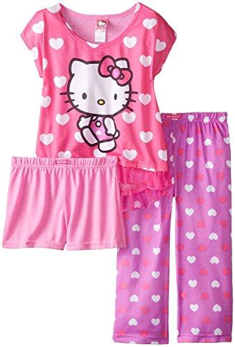 Hello Kitty Big Girls' All Over Hearts 2-Piece Pajama Set, Multi, 8