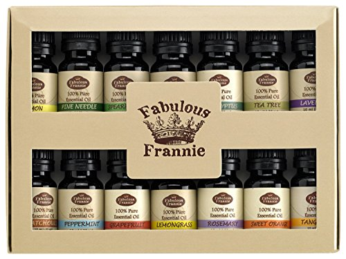 Fabulous Frannie High-Quality 14-Pack Aromatherapy Starter Gift Set of 100% Pure Therapeutic Grade 10ml Essential Oils (Eucalyptus, Grapefruit, Lavender, Lemon, Lemongrass, Lime, Patchouli, Peppermint, Pine, Rosemary, Spearmint, Sweet Orange, Tangerine an
