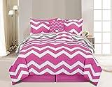 6 Piece Full Chevron Pink Comforter Set