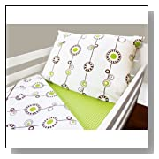 Olli & Lime george Toddler Bedding Set, Green/White