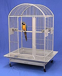 "Kilauea Kastle Dometop Bird Cage - 40"" X 30"" X 66"" - Silver Vein"