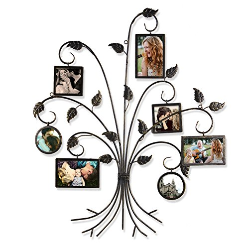 "Adeco Brown Black Decorative 7-opening Collage Bronze Iron Metal Wall Haning Picture Photo Frame, 4x6"" 4x4"""