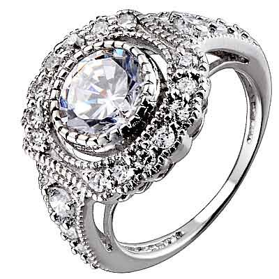 Sterling Silver Round Cubic Zirconia Antique Style Engagement Wedding Ring Size 9