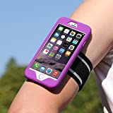 MoKo Silicone Armband for Apple iPhone 6 Plus - key holder Slot, Lightweight, Flexible, well-rounded protection, Perfect Earphone Connection while Running, PURPLE (Will Not Fit iPhone 6 4.7 inch)