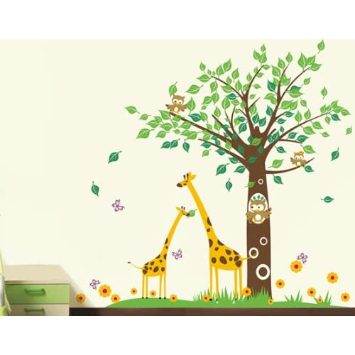 Pop Decors Removable Vinyl Art Wall Decals Mural for Nursery Room Big Tree with Cute Giraffe