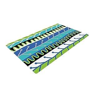 """Salsa-Blue"""" Aqua tejido verde alfombra de baño, 24 por 36 pulgadas"""
