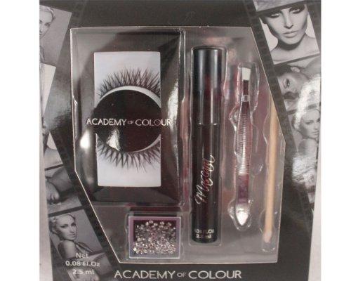 Academy of Colour False Eye Lash & Gem Set - Black