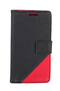 Purple Eyes Generic Mr.Coo Leather Finished Back Case Cover Pouch For Micromax Canvas 2.2 A114 Black/Red