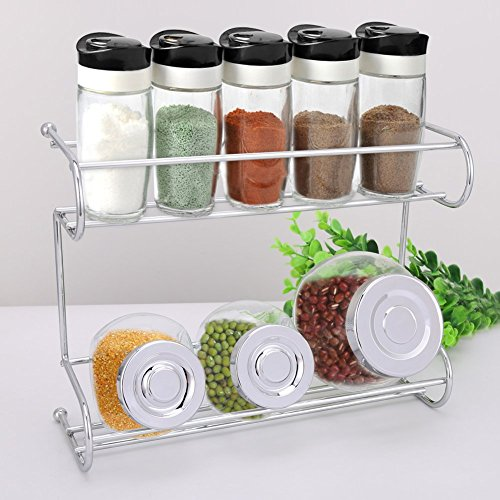 Tier Spice Rack, EZOWare Silver Kitchen Countertop 2-Tier - Import ...