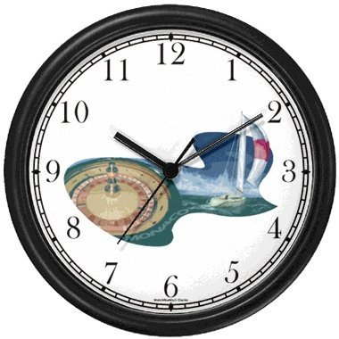 Icons of Monaco - Monte Carlo - Theme Wall Clock by WatchBuddy Timepieces Black Frame