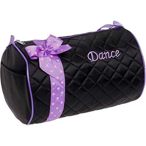 Silver Lilly Girls Dance Bag - Quilted Duffle Bag w/ Lavender Bow (Black) (Quilted Duffle Bags Under $20 compare prices)