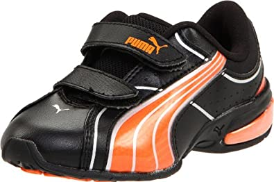 PUMA Cell Tolero 3 V Kids Running Shoe (Toddler/Little Kid),Black/Team Orange/Puma Silver,4 M US Toddler