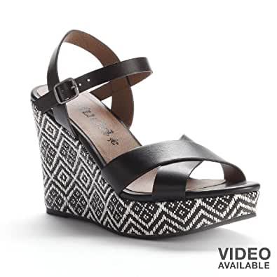 Amazon.com: Mudd Black Platform Wedge Sandals - Women: Shoes