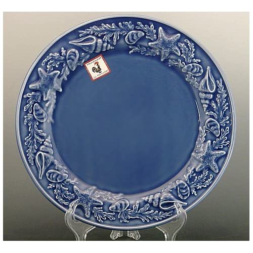 Amazon.com | Set of 3 Dinner Plates Bordallo Pinheiro Blue ...