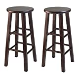 Winsome Wood 29-Inch Square Leg Bar Stool, Antique Walnut, Set of 2