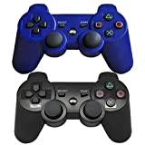 Findway Wireless Bluetooth Controllers for PlayStation 3 PS3 Double Shock (1 Black and 1 Blue)
