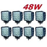 Beleuchtung - 8 X LED 48W Arbeitsscheinwerfer Arbeitsleuchte 3800lm 6000K 67IP R�ckfahrscheinwerfer - Traktor - Bagger