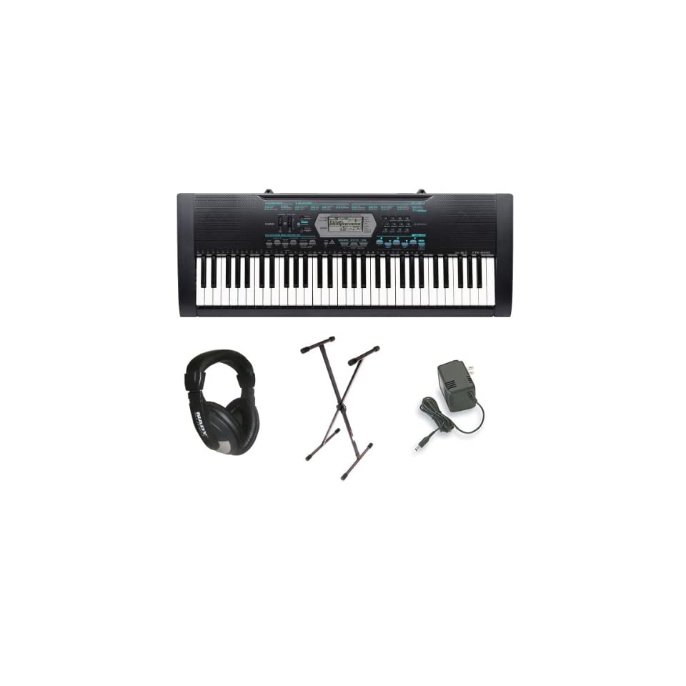 Casio CTK 2100 61 Key Portable Keyboard Package with Headphones, Stand & Power Supply & FREE MINI TOOL BOX(fs)