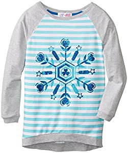 Derek Heart Big Girls' High-Low Sweatshirt with Snowflake, Aqua Tint, Small