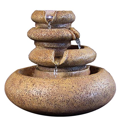 Three Tier Flowing Tabletop Fountain w/ LED Lights by Sunnydaze Decor