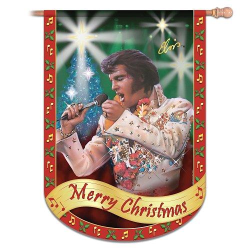 Elvis Presley Merry Christmas Flag: Elvis Home Decor by The Hamilton Collection