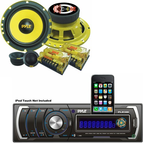 Pyle Audio Radio System For Your Home, Studio, Etc. - Plr38I Am/Fm/Mp3/Wma Detachable Face Player W/ Usb/Sd Reader & Ipod Interface - Plg6C 6.5'' 400 Watt 2-Way Custom Component System (Pair)