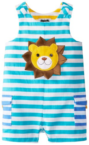Mud Pie Baby-Boys Infant Lion Shortall, Blue, 12-18 Months front-1052833