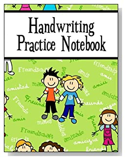Handwriting Practice Notebook For Boys - Written in several languages, the word Friendship provides the background for the cute boys on the cover of this handwriting practice notebook for younger kids.