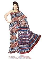 Unnati Silks Women Tussar Pure Silk Printed Cream Saree - B00IS65FVM