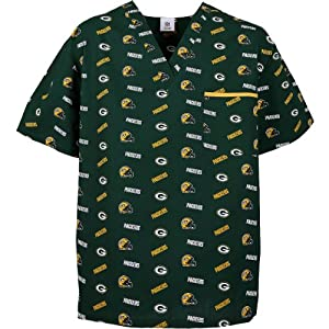 Scrub Dudz Green Bay Packers Printed Scrub Top Large by Fabrique Innovations