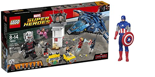 LEGO Super Heroes Super Hero Airport Battle 607 Pcs & free Gifts Super Hero Adventures Series Captain America (Colors may vary) Toys (Captain America Super Soldier Wii compare prices)