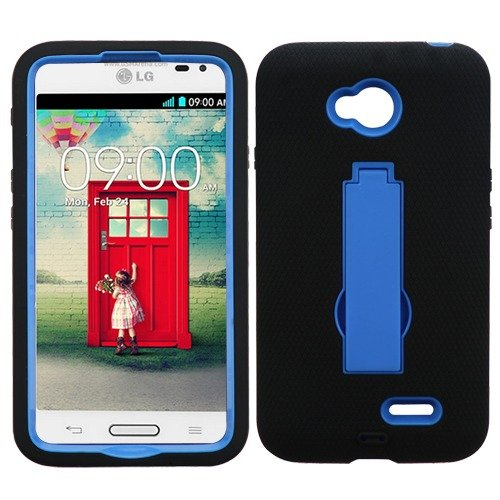 Lg Optimus L70 Ms323 Black Hybrid Stand Cover Snap On Hard Rugged Armor Gel Case Cell Phone Shield Protector Shell From [Accessory Library]