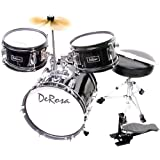 De Rosa DRM312-BK Children's 3 Piece 12 Inch Drum Set with Chair, Black