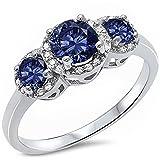 3 Round Simulated Tanzanite & Cz Fashion .925 Sterling Silver Ring Sizes 3-13