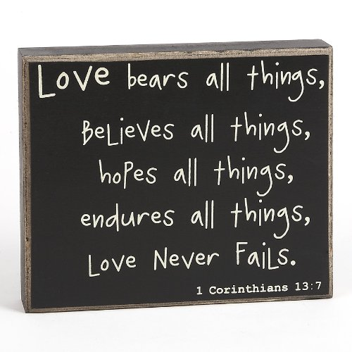 Collins Love Never Fails Box Sign (Tabletop Love Sign compare prices)