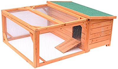 PawHut 49.2-Inch Wood Chicken Coop Wooden Rabbit Hutch Poultry House with Run, Wood
