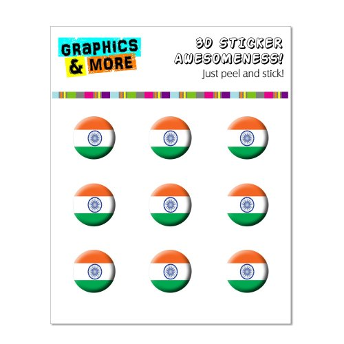 Graphics and More India Indian Flag Home Button Stickers Fits Apple iPhone 4/4S/5/5C/5S, iPad, iPod Touch - Non-Retail Packaging - Clear - 1