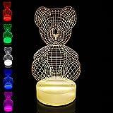 T.Y.S Lighting 3D Illusion Light LED Table Lamp Children Night Light USB Powered Light Christmas Home Decor Lighting Teddy bear (Multi-colored)