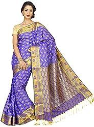 Evila Women's Raw Silk Saree (RSE-201, Blue)