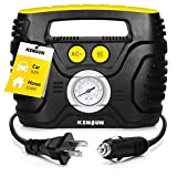 Kensun AC/DC Swift Performance Portable Air Compressor Pump with Analog Display to 120 PSI for Home (110V) and Car (12V), Tire Inflator with Adaptors for Cars, Trucks, Bicycles, Balls