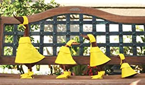 Hand Carved Natural Wood Rain Duck Bamboo Root Lawn Ornament Family Set of 4