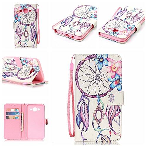 Galaxy-J5-HlleGalaxy-J5-CaseSamsung-Galaxy-J5-Leder-Wallet-Tasche-Brieftasche-SchutzhlleCozy-Hut--Cartoon-Zeichnung-Muster-Schutzhlle-LanyardStrap-Muster-Bunte-Vintage-Painted-Magnetverschluss-PU-Lede