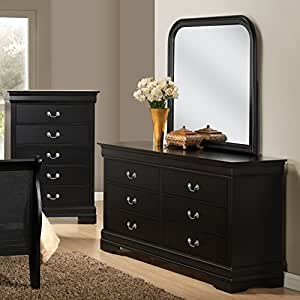 roundhill furniture isony 594 louis philippe style wood dresser with mirror black. Black Bedroom Furniture Sets. Home Design Ideas